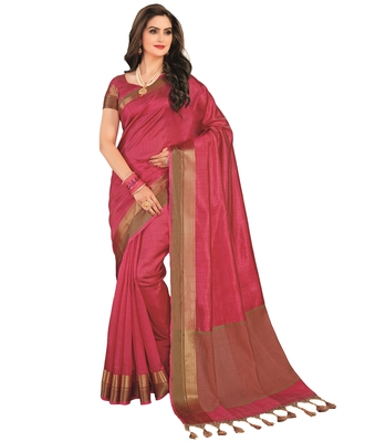 Pink printed tussar silk saree with blouse