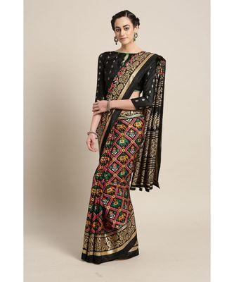 Black printed Silk blend saree with blouse