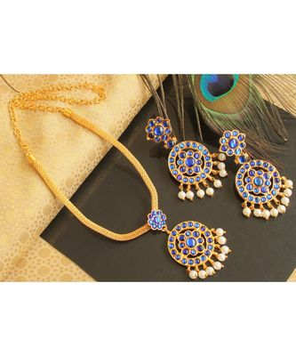 Beautiful Blue Pearl Designer Temple Necklace Set