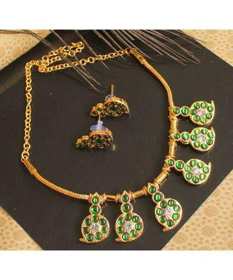 Beautiful Green White Mango Designer Necklace Set