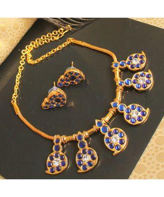 Beautiful Blue White Mango Designer Temple Necklace Set