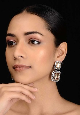 Brown Silver Tone Diamante Earrings