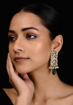 Gold Tone Aari And Pearl Jadau Earrings