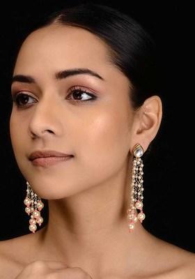 Pink-White Gold Tone Kundan Inspired Tassel Earrings