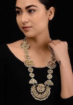 Gold Tone Kundan Inspired Necklace