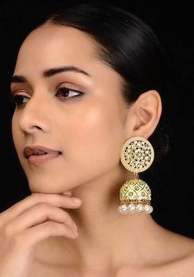 Green Gold Tone Kundan Inspired Meenakari Jhumkis