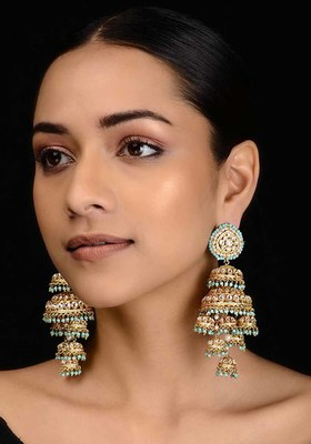 Turquoise Gold Tone Kundan Inspired Jhumkis