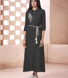 Black printed cotton poly cotton-kurtis