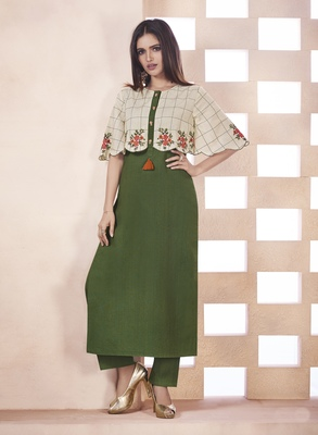 Olive Embroidered Cotton Poly Cotton Kurtis
