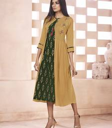 Dark-green printed cotton poly cotton-kurtis