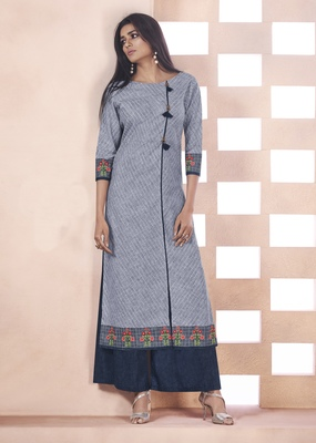 Grey Printed Cotton Poly Cotton Kurtis