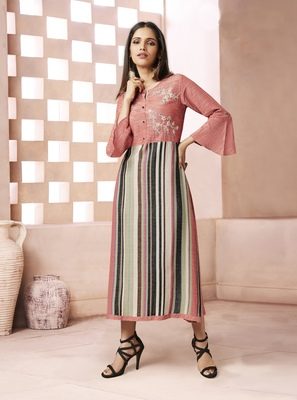 Peach Printed Cotton Poly Cotton Kurtis
