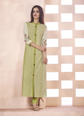 Light Olive Embroidered Cotton Poly Cotton Kurtis