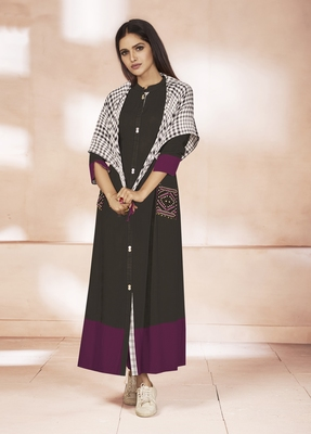 Multicolor Embroidered Cotton Poly Cotton Kurtis