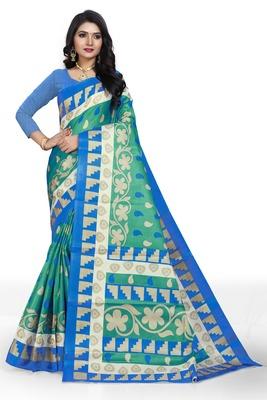 Green printed art silk sarees saree with blouse