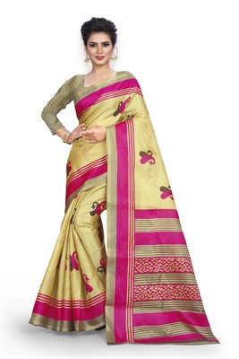 cream printed art silk sarees saree with blouse