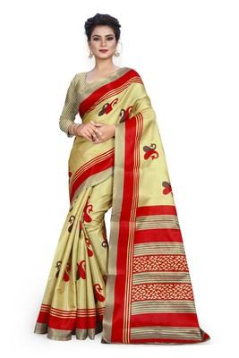 dark cream printed art silk sarees saree with blouse
