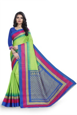 light lemon printed art silk sarees saree with blouse