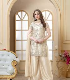 Off White embroidered net sharara Suit