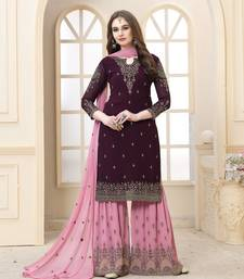 Wine embroidered faux georgette Sharara Suit
