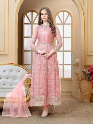Blush pink embroidered net Anarkali  with dupatta