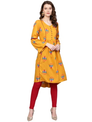 Shree Women Mustard Rayon Abstract Kurta