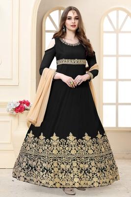 Black embroidered georgette salwar with dupatta