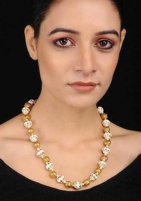 White Gold Tone Kundan Inspired Meenakari Necklace