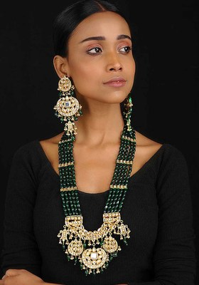Green Gold Tone Kundan Inspired Jade Necklace With Earrings