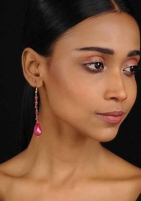Pink Gold Tone Crystal Earrings