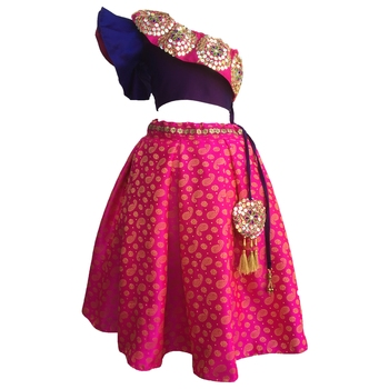 Blue  blouse ,printed Rani chaniya indowestern,designer Lehenha choli  without chunni