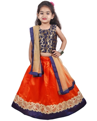 Orange Lace Silk Stitched Lehenga