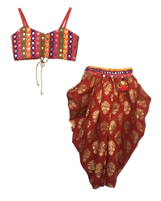 multicolor embroidered cotton stitched kids salwar suits