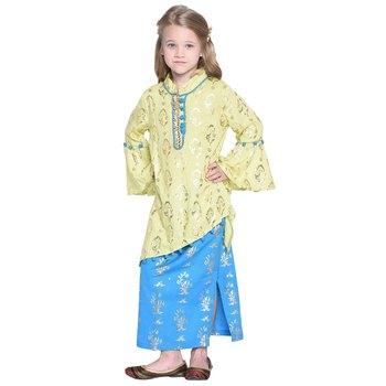 Yellow Printed Cotton Kids Skirts