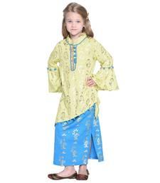 Yellow printed cotton kids-skirts