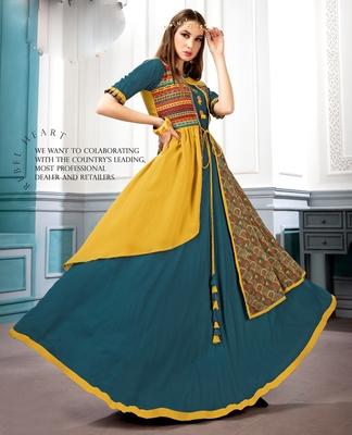 Partywaer Designer Yellow Rama Heavy Rayon And Muslin Fabric Fancy Kurti