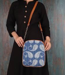 White PAISLEY PRINT On Blue Sling Bag