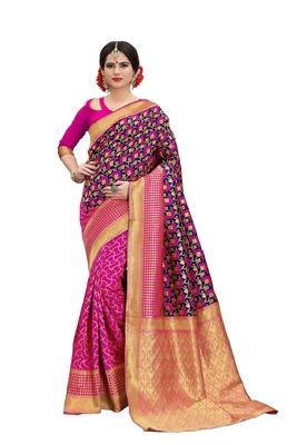 blue woven banarasi silk saree with blouse
