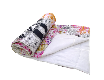 Reme Digital Printed Organic Cotton Quilt Blanket Multicolor Jaipuri Razai