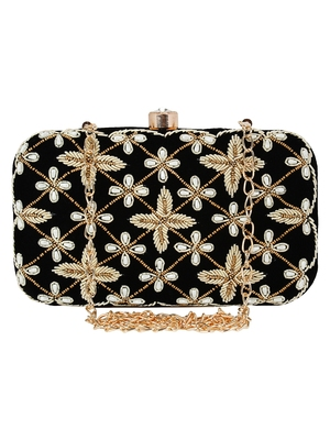 Ethnique Embroidered Party Clutch Black & Gold