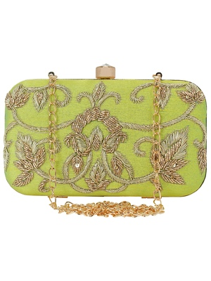 Ethnique Embroidered Party Clutch Parrot Green & Gold