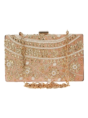 Ethnique Beaded and Embroidered Party Clutch Peach & Gold