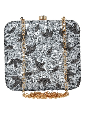 Ethnique Sequines Party Clutch Silver & Gold