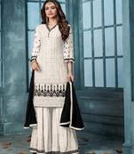 Buy White embroidered  faux georgette salwar