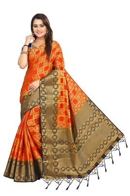 Orange woven patola saree with blouse