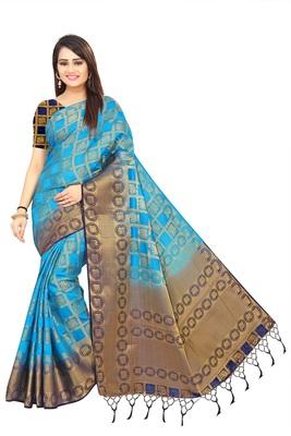 Sea green woven patola saree with blouse