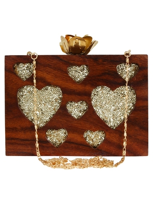 Timber Heart Sequins Wooden Party Clutch Bag Brown