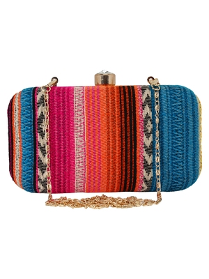 Geomet Embroidered Party Clutch Multi