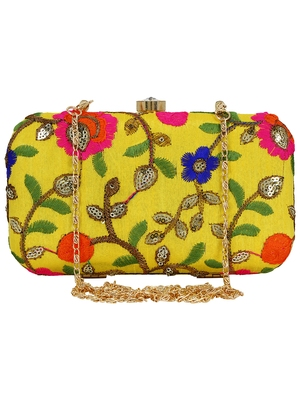 Ethnique Embroidered Party Clutch Bag Yellow & Multi
