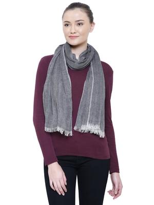 Black & natural Viscose cotton Striped Woven Design Stole
